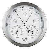 GardenMate® Wetterstation analog 3in1 Edelstahlrahmen Ø 14 cm Barometer Thermometer...