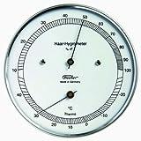 Fischer 111.01T Echthaar-Hygrometer mit Thermometer, Edelstahlgehuse, 103 mm