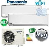 DUO Split klima gerät R32 ETHEREA WiFi PANASONIC Klimaanlage 2,5+2,5 KW A+++